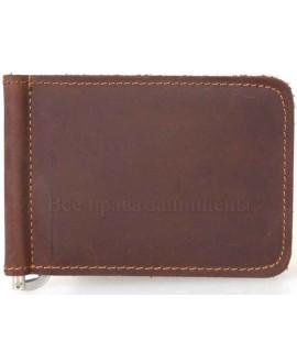 Зажим для денег коричневого цвета из натуральной кожи А-К-001-BROWN