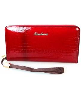 Модный женский кошелек красного цвета из экокожи от SALFEITE E006-RED