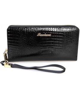 Модный женский кошелек черного цвета из экокожи от SALFEITE E006-BLACK