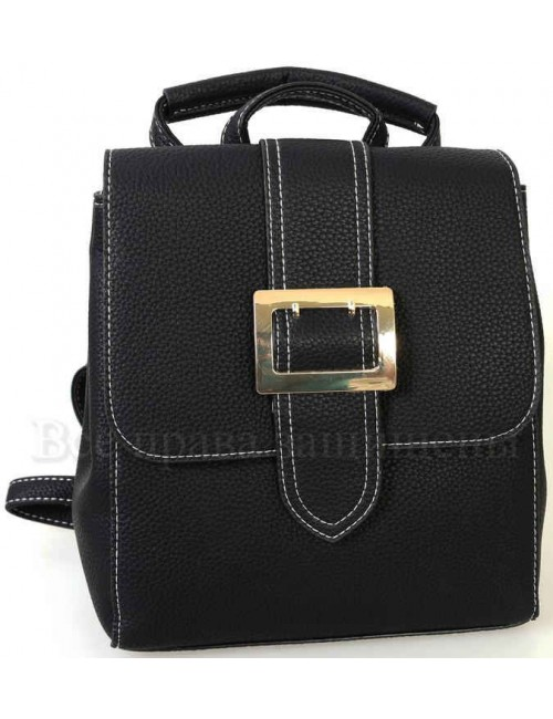 Компактный женский рюкзак из экокожи от SK Leather Collection SK7510-BLACK