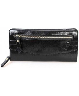 Стильный женский кошелек из экокожи черного цвета от H.Verde HVW-5328-BLACK
