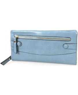 Стильный женский кошелек из экокожи голубого цвета от H.Verde HVW-5328-BLUE