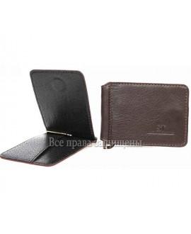 Зажим для купюр с магнитом коричневый кожаный ZS-011BROWN
