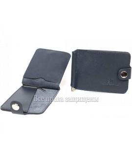 Зажим для купюр кожаный синий ZS-010BLUE