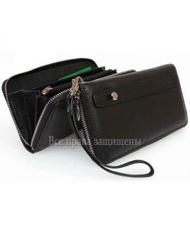 Клатч черный на одну молнию кожаный Marco Coverna MC-802-1