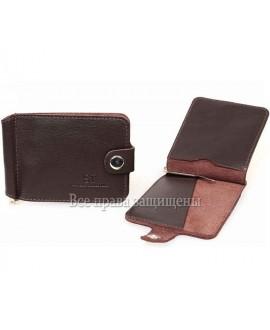Зажим для денег коричневого цвета из натуральной кожи ZS-010BROWN