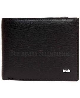 Мужской черный кожаный бумажник без застежки в категории кошельки оптом Украина M13men