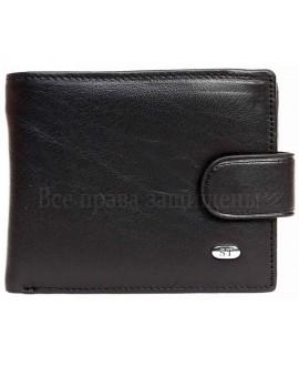 Мужской черный кожаный бумажник с застежкой в категории кошельки оптом Одесса 7 км M14men