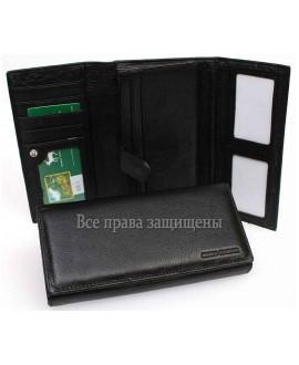 Marco Coverna чёрный кожаный кошелек с отделениями для карточек MC-604-1