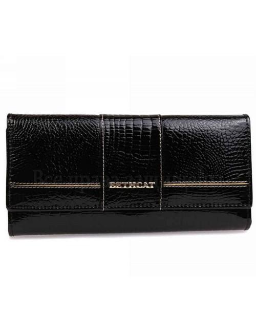 Лаковый женский кошелек черного цвета из натуральной кожи BETH CAT кошельки женские оптом AE045BLACK(BETHCAT)