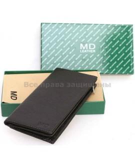 Мужской бумажник для нагрудного кармана MD Leather (MD-308A BLACK)