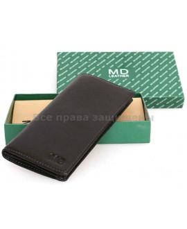 Бумажник для нагрудного кармана из натуральной кожи MD Leather (MD-1126-A BLACK)