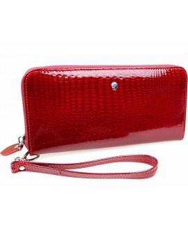 Лаковый кожаный кошелек - клатч Salfeite на молнии красного цвета AE38-1RED
