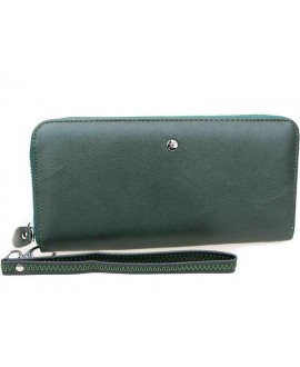 Зелёный кожаный кошелёк на молнии Salfeite W38-1GREEN