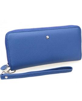 Портмоне кожаное на молнии синее W38-BLUE