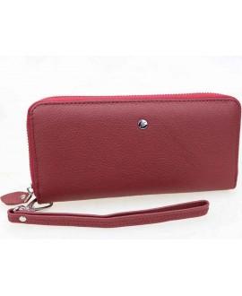 Бордовый кошелёк на молниий кожаный W38-DRED