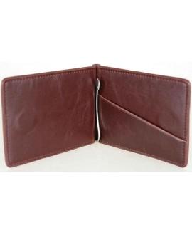 Мужской кошелек-зажим коричневого цвета с боковым карманом