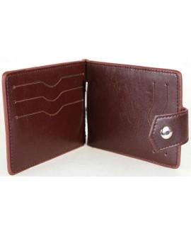 Коричневый кошелек с зажимом для денег и кнопкой