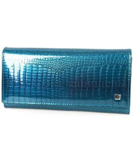 Лаковый кошелёк под крокодила лаковый голубой H-AE501-light-blue