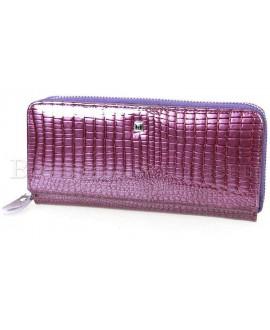 Фиолетовый кожаный кошелёк лаковый Horton HAE-202-dark-purrle