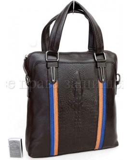 Мужская кожаная сумка с тиснением под крокодила SK712-brown