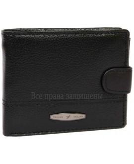 Кожаный кошелек двойного сложения черного цвета для солидных мужчин T-151D-BLACK-opt в категории купить мужские кошельки оптом Одесса