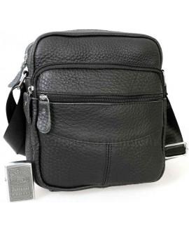 Удобная повседневная мужская кожаная сумка с плечевым ремнем от ALVI AV-0311-BLACK