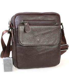 Удобная мужская кожаная сумка с плечевым ремнем от ALVI AV-0316-BROWN