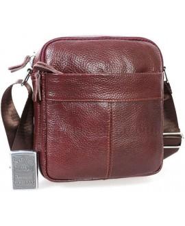 Стильная мужская кожаная сумка кофейного цвета с плечевым ремнем от ALVI AV-0314-COFFEE