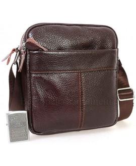 Стильная мужская кожаная сумка коричневого цвета с плечевым ремнем от ALVI AV-0314-BROWN