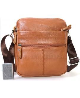 Стильная мужская кожаная сумка коричневого цвета с плечевым ремнем от ALVI AV-0317-BROWN