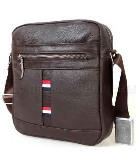 Удобная повседневная мужская кожаная сумка с плечевым ремнем от ALVI AV-0308-BROWN