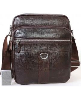 Мужская кожаная сумка коричневого цвета с плечевым ремнем от ALVI AV-0306-BROWN