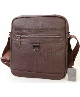 Повседневная мужская кожаная сумка коричневого цвета с плечевым ремнем от ALVI AV-0310-BROWN