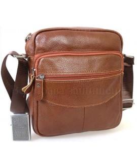 Удобная повседневная мужская кожаная сумка с плечевым ремнем от ALVI AV-0311-GINGER