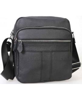 Повседневная мужская кожаная сумка черного цвета от ALVI AV-0302-BLACK