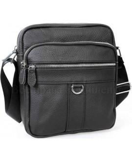 Мужская кожаная сумка черного цвета с плечевым ремнем от ALVI AV-0306-BLACK