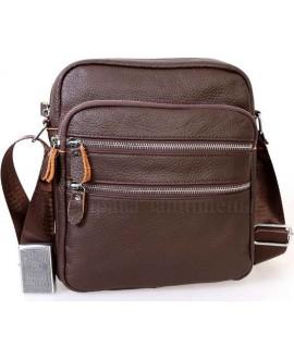 Стильная мужская кожаная сумка коричневого цвета от ALVI AV-0301-BROWN