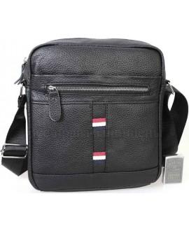 Удобная повседневная мужская кожаная сумка с плечевым ремнем от ALVI AV-0308-BLACK