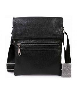 Мужская кожаная сумка через плечо с металической молнией черная av-96black в категории сумки оптом харьков барабашово