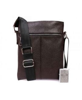 Кожаная мужская повседневная сумка оптом через плечо коричневая от производителя av-104brown