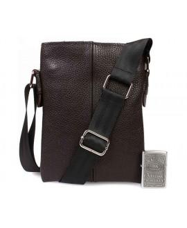 Сумка наплечная из натуральной кожи без клапана коричневого цвета от ALVI av-97brown в категории мужские сумки оптом одесса