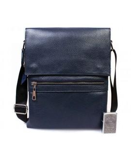 Мужская кожаная сумка синего цвета из натуральной кожи с клапаном повседневная av-99blue в категории сумки оптом харьков от производителя
